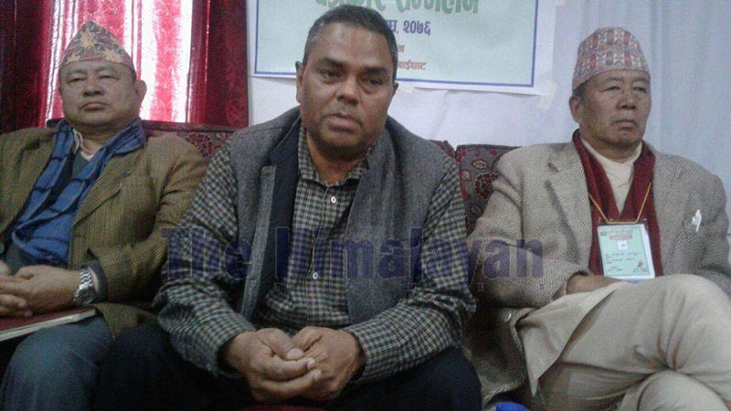 Chairman of Samajbadi Party-Nepal Upendra Yadav talking to mediapersons at a press conference, in Gaighat, Udayapur, on Monday. Photo: THT