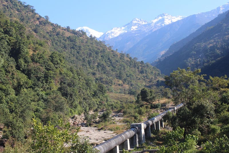 A view of penstock pipe for the under-construction 25 MW Upper Dordi 'A' Hydroelectric Project, in Lamjung on Tuesday, February 18, 2020. Photo: Ramji Rana/THT