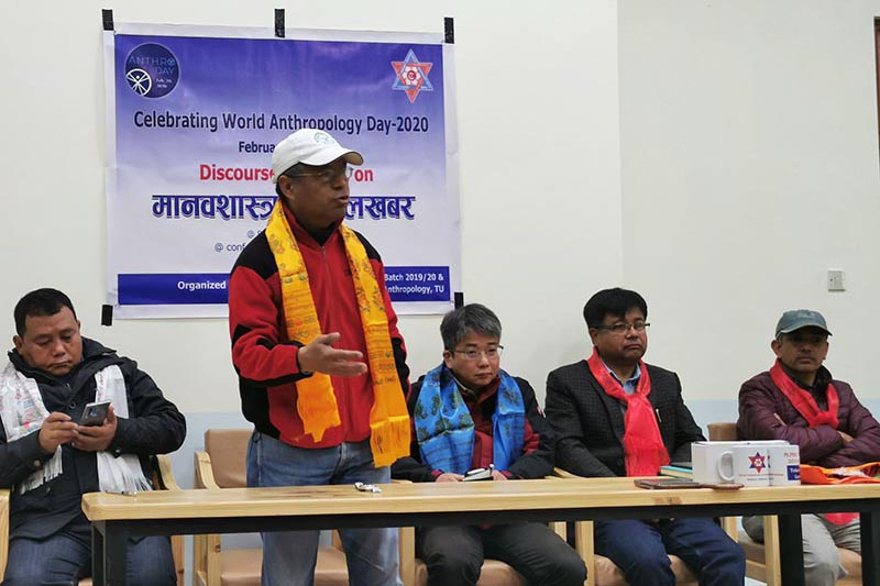 Chief at the Central Department of Anthropology, Dr Dambar Dhwaj Chemjong discourses  in a programme organised by MPhil students to mark the World Anthropology Day-2020, at the Central Department of Anthropology, in Tribhuvan University, Kathmandu, on Thursday, February 20, 2020. Photo: @jagbudhamagar/Twitter