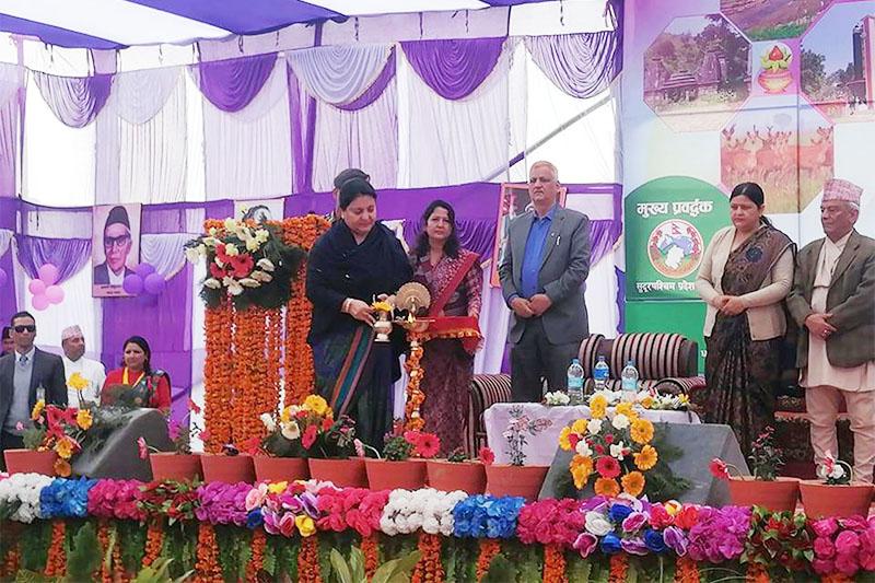 President Bidya Devi Bhandari inaugurating World Nepali Literature festival organised by Sudurpaschim Literature Society in Dhangadi, Kailai district, on Wednesday, February 26, 2020. Photo: RSS