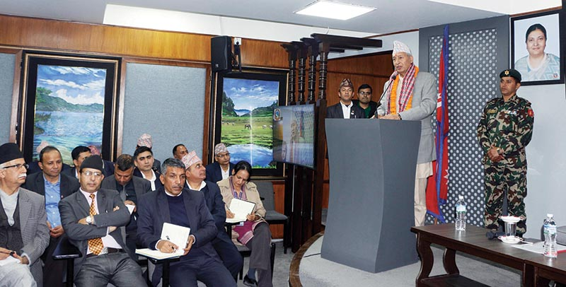 Finance Minister Yubaraj Khatiwada addressing a programme after assuming the charge of the Ministry of Communications and Information Technology, in Kathmandu, on Sunday. The portfolio had fallen vacant following the resignation of outgoing communications minister Gokul Baskota. Photo: RSS