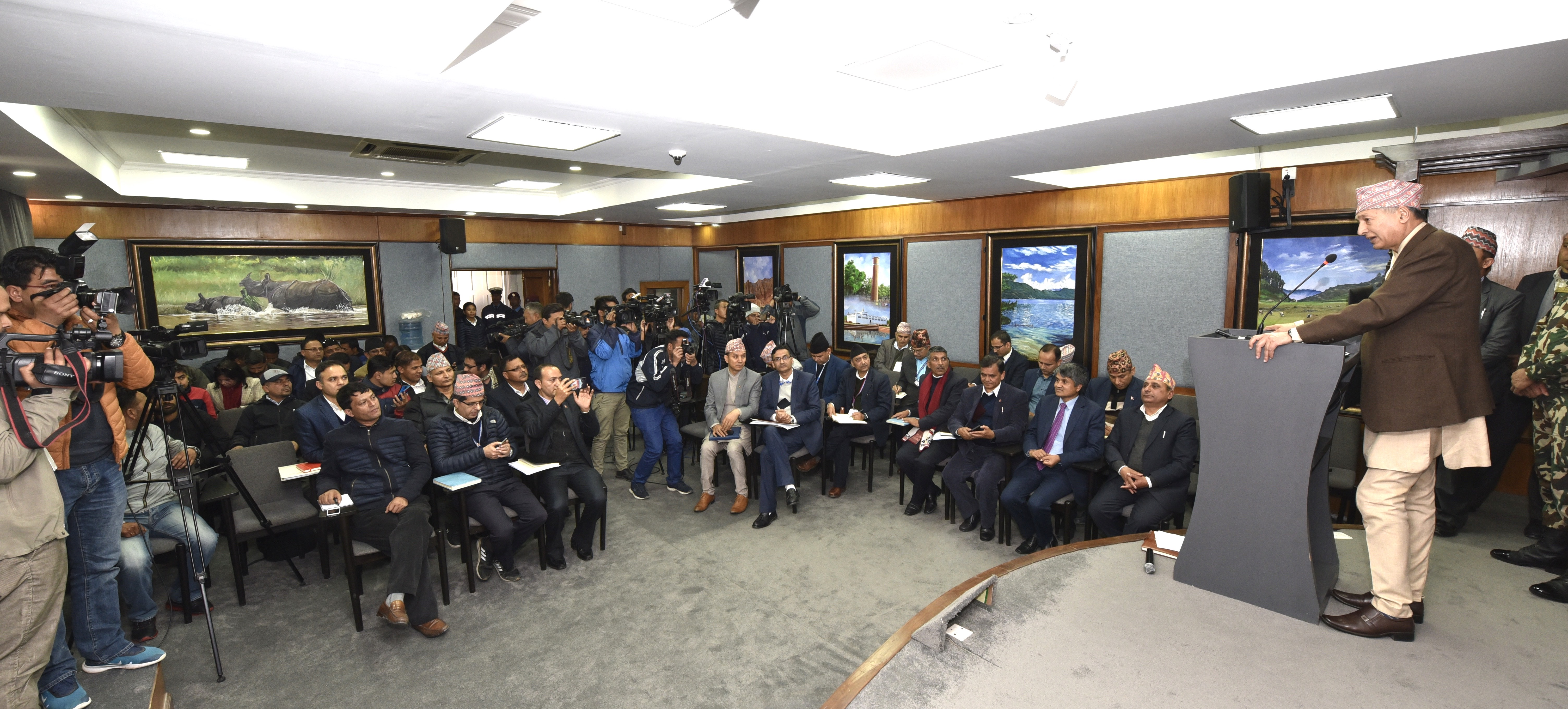 Government Spokesperson Minister Yubaraj Khatiwada addressing mediapersons at the weekly press-meet in Singhadurbar on February 27, 2020. Photo: Ministry of Communication and Information Technology