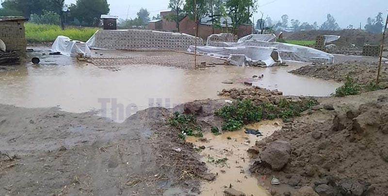 Raw bricks damaged due to rainfall in Sudurpaschim Province. Photo: Tekendra Deuba/THT