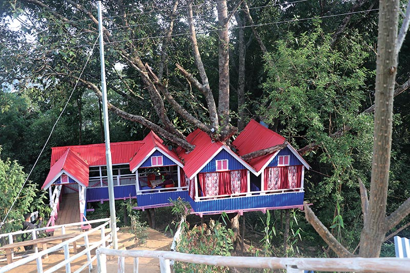 A view of tree houses at Chunlung in Jorpati Rural Municipality, Dhankuta, on Saturday. Photo: RSS