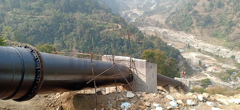 A view of the under-construction penstock pipe for the 25MW Upper Dordikhola 'A' Hydro Project, in Lamjung, as on Tuesday, February 18, 2020. Photo: Ramji Rana/THT