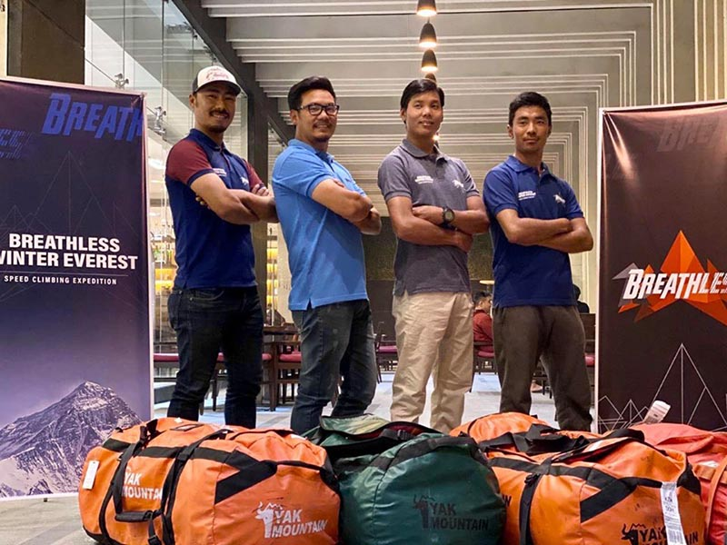 Halung Dorchi Sherpa, Pasang Nurbu Sherpa, Ming Temba Sherpa and Tashi Lakpa Sherpa to attempt the record for the winter Everest expedition in 5 days. Photo: Rajan Pokhrel/THT