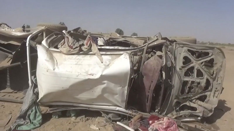 A destroyed vehicle is seen after an air strike in Al-Jawf province, Yemen, February 15, 2020 in this still image taken from a video. Photo: Reuters