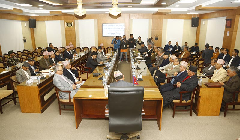 Both ruling and opposition leaders take part in an all-party meeting called by Deputy Prime Minister and Defence Minister Ishwar Pokhrel at Office of the Prime Minister and Council of Ministers in Singha Durbar Kathmandu, on Wednesday, March 11, 2020. Photo: RSS