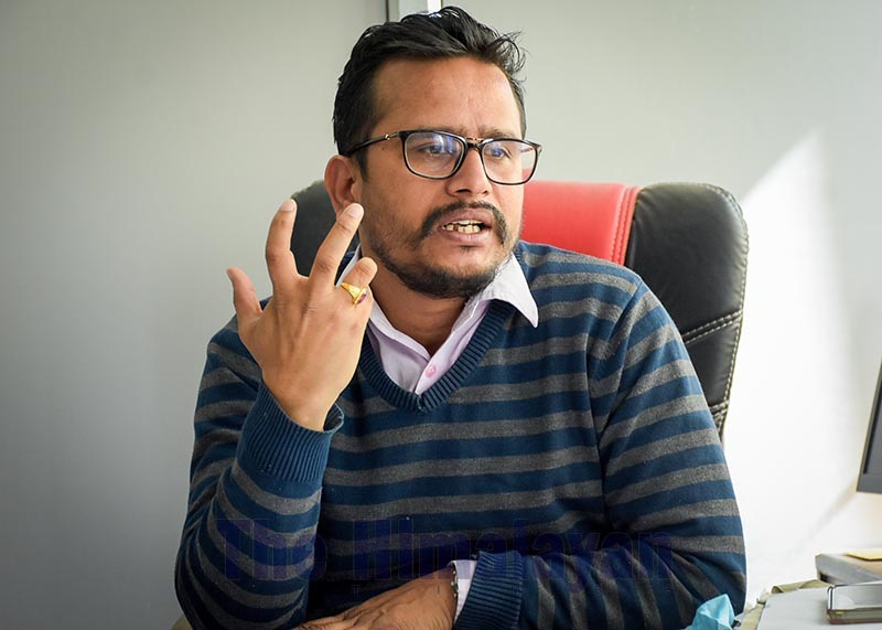 Interview with consultant tropical medicine and spokesperson for Sukraraj Tropical and Infectious Disease Hospital, Anup Bastola, in Kathmandu, on Sunday, March 22, 2020. Photo: Naresh Shrestha/THT