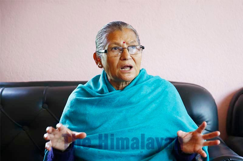 FILE - Nepal Communist Party (NCP) Standing Committee member Ashtalakshmi Shakya is pictured during an interview, in Kathmandu, on Saturday, February 29, 2020. Photo: Skanda Gautam/THT