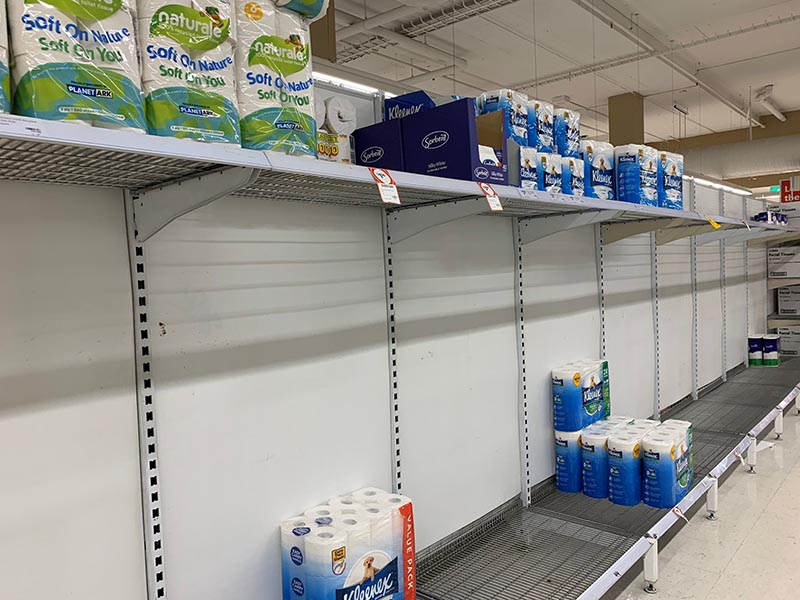 Empty shelves are pictured at Coles Supermarket following reports of coronavirus in the Canberra suburb of Manuka, Australia, March 2, 2020 in this picture obtained by Reuters from social media. Photo: Adam Spence via Reuters
