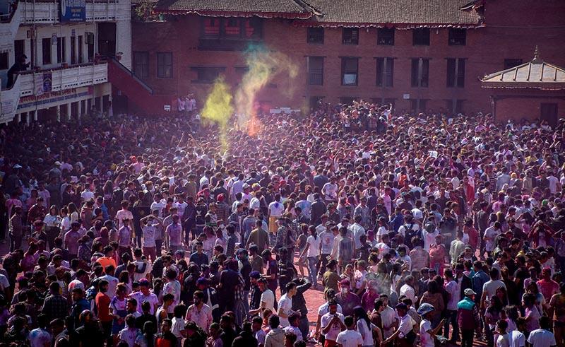 Revellers celebrating Holi, the festival of colours at Basantapur, Kathmandu. Photo: Naresh Shrestha/ THT