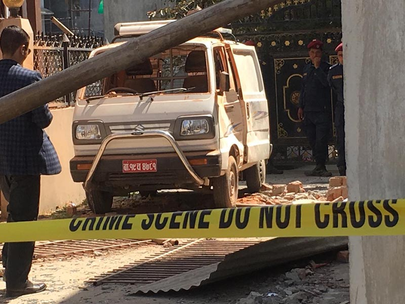 A view of a van damaged in an explosion outside an under-construction house belonging to former Minister for Communications and Information Technology Gokul Prasad Baskota, in Madhyapur Thimi Municiplaity-1, Bhaktapur, on Wednesday, March 11, 2020. Photo: Ujjwal Satyal/THT