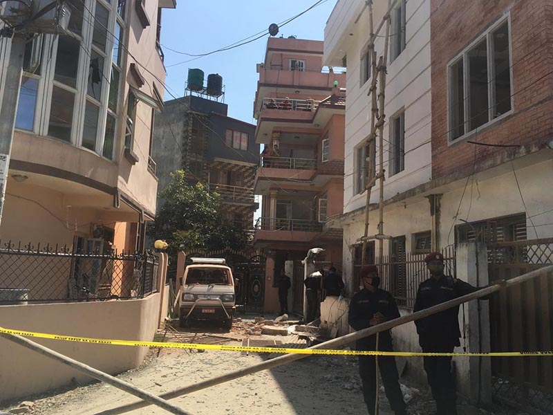 Policemen guarding the cordoned off area where an improvised explosive device exploded, in Madhyapur Thimi Municipality-1, Bhaktapur, on Wednesday, March 11, 2020. Photo: Ujjwal Satyal/THT