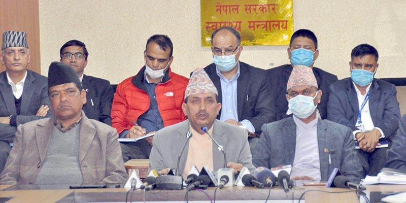 Minister of Health and Population Bhanubhakta Dhakal addressing an ememrgency press conference held in the ministry on Monday, March 23, 2020. Photo: RSS