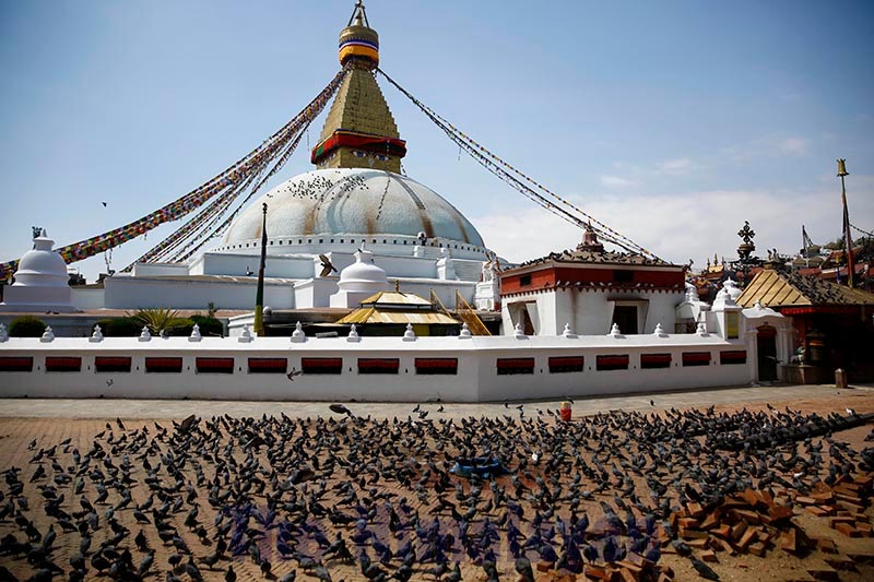 A large flock of pigeons is seen on the premises of deserted Bouddhanath Stupa, a UNESCO World Heritage Site, in Kathmandu, on Tuesday, March 24, 2020. The government imposed a nationwide lockdown for a week from Tuesday in an effort to control the possible spread of COVID-19. Photo: Skanda Gautam/THT