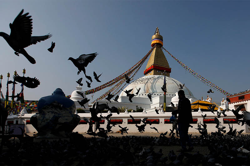 A deserted view of Bouddhanath Stupa, a UNESCO world heritage site, following the lockdown imposed by the government amid concerns about the spread of coronavirus disease (COVID-19) outbreak, in Kathmandu, Nepal, on March 25, 2020. Photo: Reuters