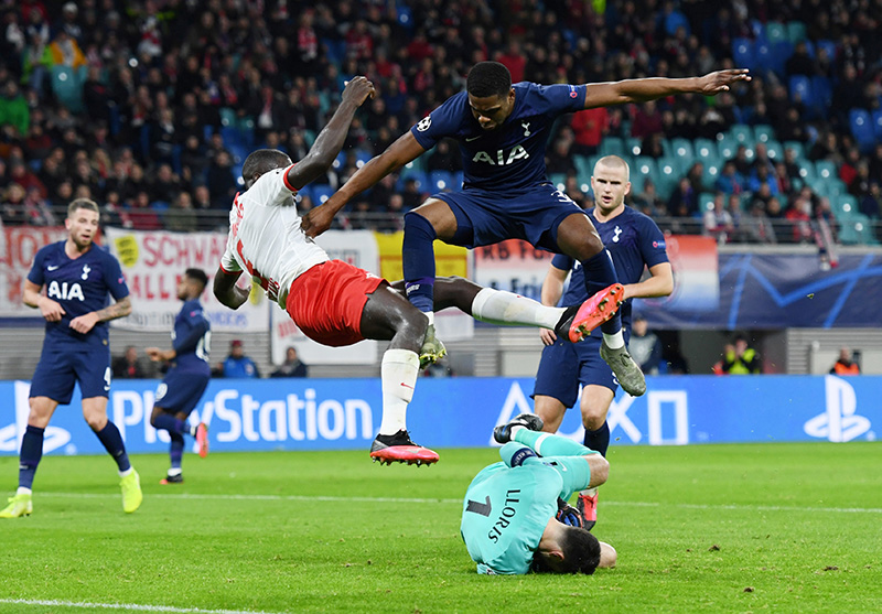 RB Leipzig's Dayot Upamecano in action with Tottenham Hotspur's Japhet Tanganga during the Champions League Round of 16 Second Leg match between RB Leipzig and Tottenham Hotspur, at Red Bull Arena, in Leipzig, Germany, on March 10, 2020. Photo: Reuters