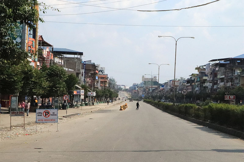 A view of Chitwan on the first day of week-long nationwide lockdown due to coronavirus crisis, on Tuesday, March 24, 2020. Photo: Tilak Rimal/THT