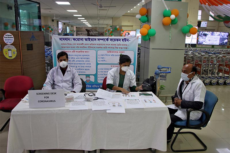 File - A health desk is set up to screen travellers for signs of the coronavirus at Maharaja Bir Bikram Airport in Agartala, India, on January 31, 2020. Photo: Reuters