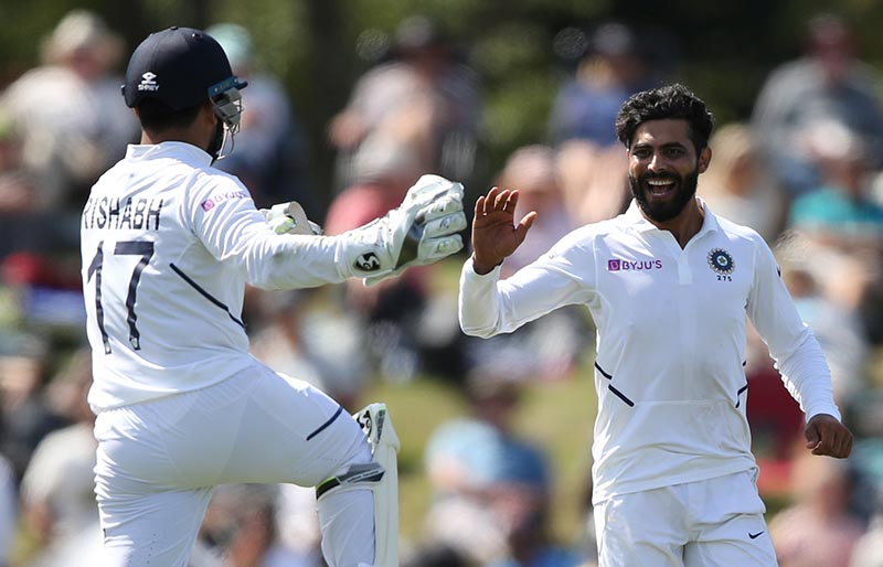 India's Ravindra Jadeja celebrates with team mates the wicket of New Zealand's Colin de Grandhomme during their Second Test, at Hagley Oval, in Christchurch, New Zealand, on March 1, 2020. Photo: Reuters