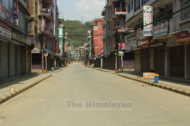The headquarters of Tanahun district, Damauli Bazaar, is seen deserted on the third day of nationwide lockdown, on Thursday, March 26, 2020. Photo: Madan Wagle/THT