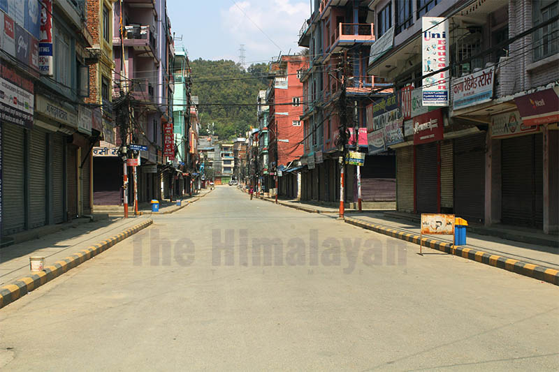 A deserted view of Damauli Bazaar during the third day of weeklong lockdown amid concerns of COVID-19 spread in Nepal, on Thursday, March 26, 2020. Photo: Madan Wagle/THT