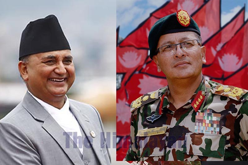This combo image shows Defence Minister Ishwar Pokhrel (left) and Chief of Army Staff General Purna Chandra Thapa. Photo: THT