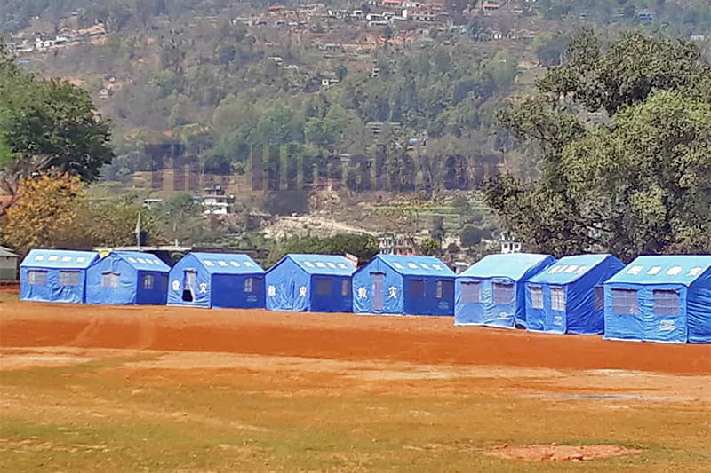 A view of quarantine zone in Dhadingbesi amid concerns about the spread of COVID-19 outbreak, in Dhading, on Thursday, March 26, 2020. Photo: Keshav Adhikari/THT