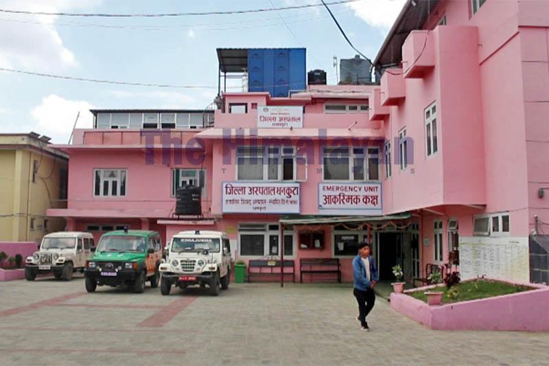 A man walking on the premises of District Hospital, Dhankuta, on Wednesday, March 25, 2020. Photo: Khagendra Prasad Ghimire/THT