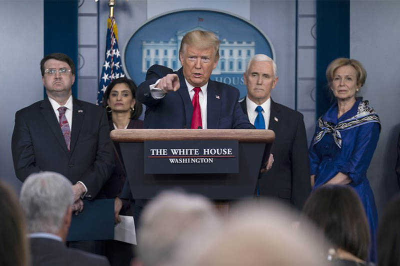 President Donald Trump speaks during press briefing with the coronavirus task force, at the White House, Wednesday, March 18, 2020, in Washington, as Veterans Affairs Secretary Robert Wilkie, Administrator of the Centers for Medicare and Medicaid Services Seema Verma, Vice President Mike Pence and Dr. Deborah Birx, White House coronavirus response coordinator, listen. Photo: AP