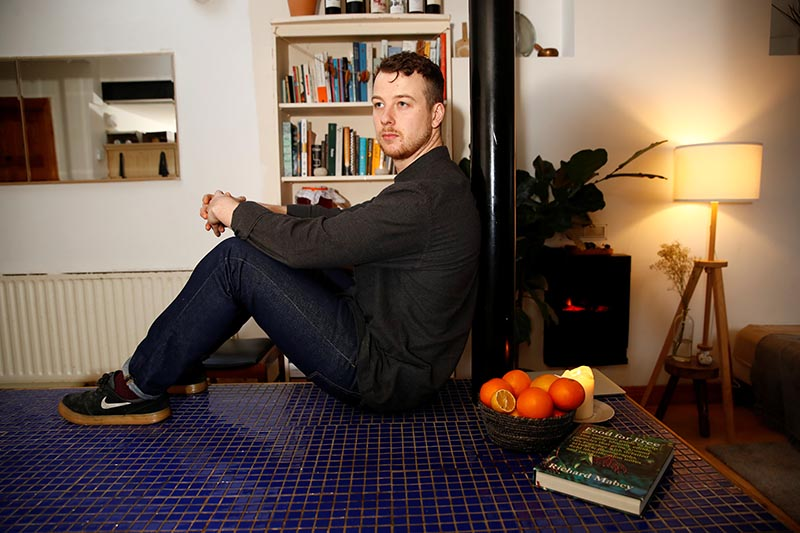 Irish chef Cuan Greene (27), who lost his job at Dublin's Bastible restaurant after it closed its doors on Sunday amid the growing threat from the coronavirus disease (COVID-19), is seen in his house in Dublin, Ireland, onWednesday, March 18, 2020. Photo: Reuters