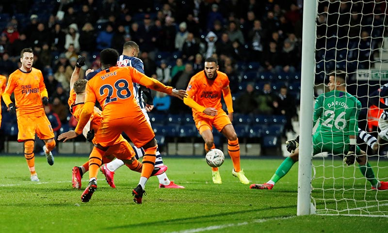West Bromwich Albion's Kenneth Zohore scores their second goal during the FA Cup Fifth Round match between West Bromwich Albion and Newcastle United, at The Hawthorns, in West Bromwich, Britain, on March 3, 2020. Photo: Action Images via Reuters