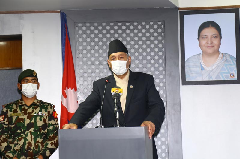 Finance Minister Yubaraj Khatiwada addressing a press conference to disclose the decisions taken by the Cabinet, organised at the Ministry of Communication and Information Technology, in Singha Durbar, Kathmandu, on Sunday, March 29, 2020. Photo: RSS