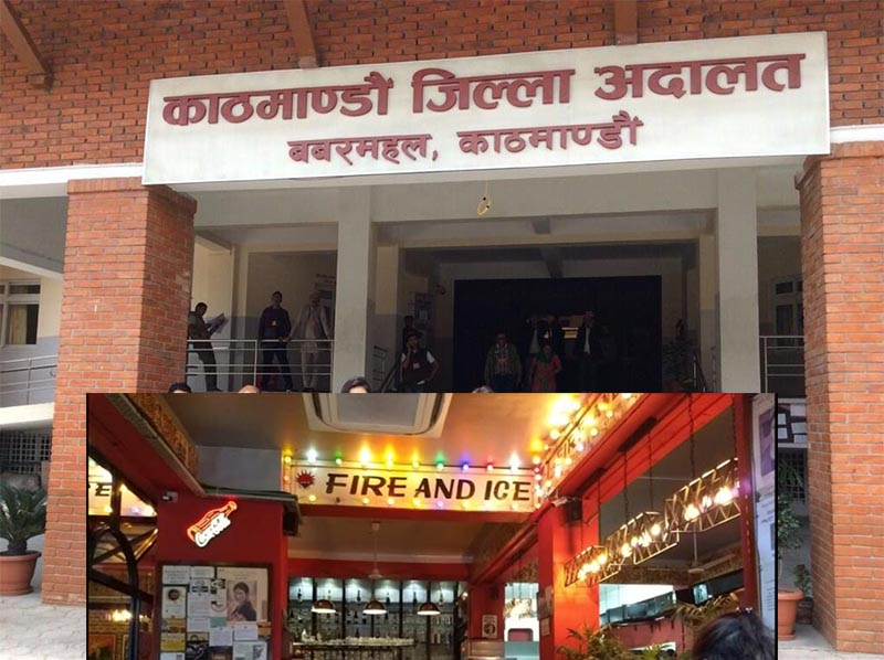 This combo image shows Kathmandu District Court and Fire and Ice restaurant which was fined Rs 5,000 by Inland Revenue Office of Thamel on March 26, 2019. Photo: THT