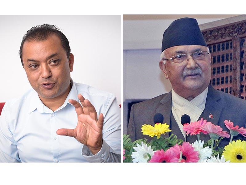 This combo image shows Nepali Congress leader Gagan Kumar Thapa (left) and Prime Minster KP Sharma Oli. Image: THT