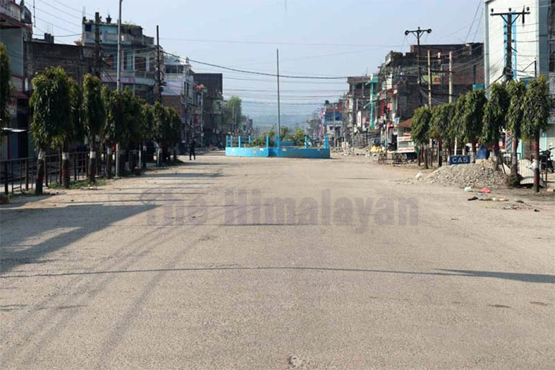 A view of a deserted street in Gaighat on the second day of weeklong virus-lockdown in Udayapur district, on Wednesday, March 25, 2020. Photo: Shyam Rai/THT