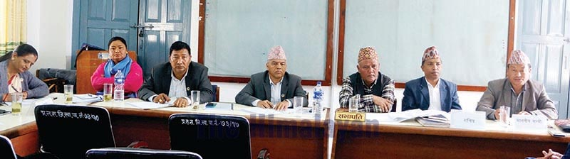 A meeting of Public Accounts Committee of Gandaki Province Assembly on agriculture grant in progress, in Pokhara, on Friday, March 13, 2020. Photo: THT
