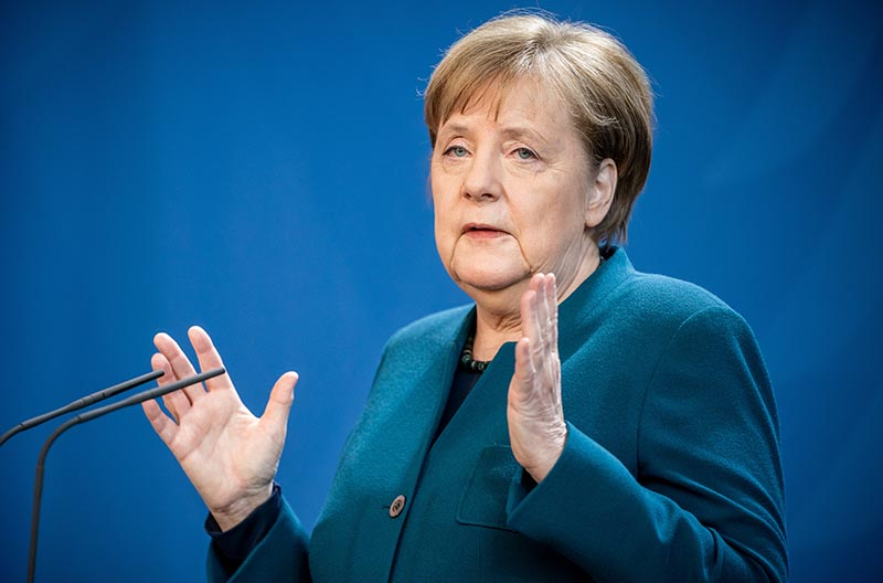 German Chancellor Angela Merkel gives a media statement on the spread of the new coronavirus disease (COVID-19) at the Chancellery in Berlin, Germany, March 22, 2020. Photo: Reuters
