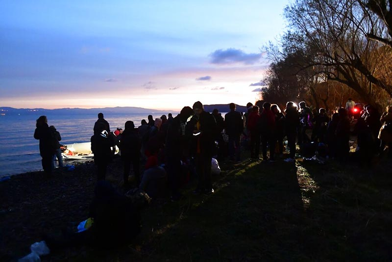Migrants arrive at the village of Skala Sikaminias, on the Greek island of Lesbos, after crossing on a dinghy the Aegean sea from Turkey, Sunday, March 1, 2020. Photo: AP