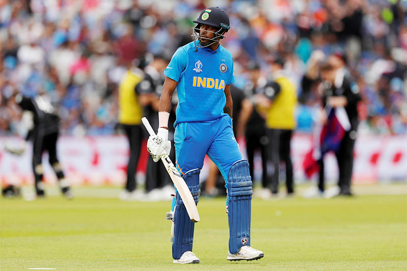 FILE PHOTO: India's Hardik Pandya reacts after losing his wicket. Photo: Reuters