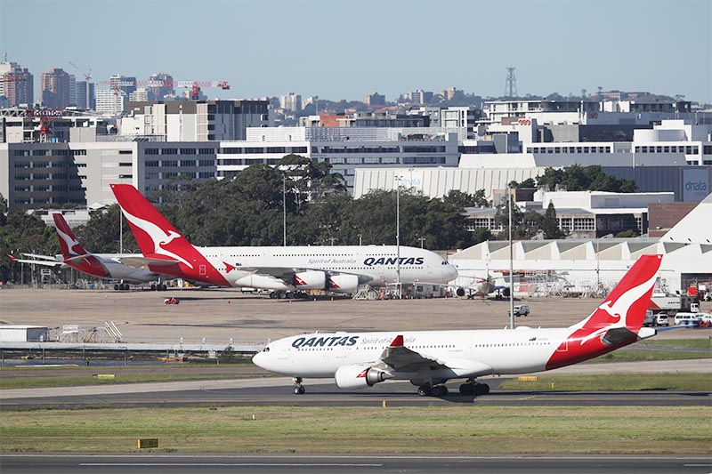 Qantas planes are seen at Kingsford Smith International Airport, following the coronavirus outbreak, in Sydney, Australia, on Wednesday, March 18, 2020.  Photo: Reuters