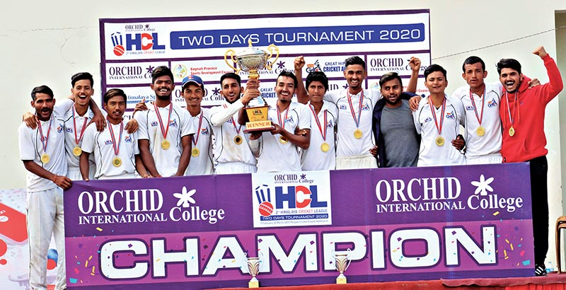 Wai Wai Great Himalaya Cricket Academy team members celebrate after winning the Orchid College second Himalaya Cricket League in Kathmandu on Monday. Photo: THT