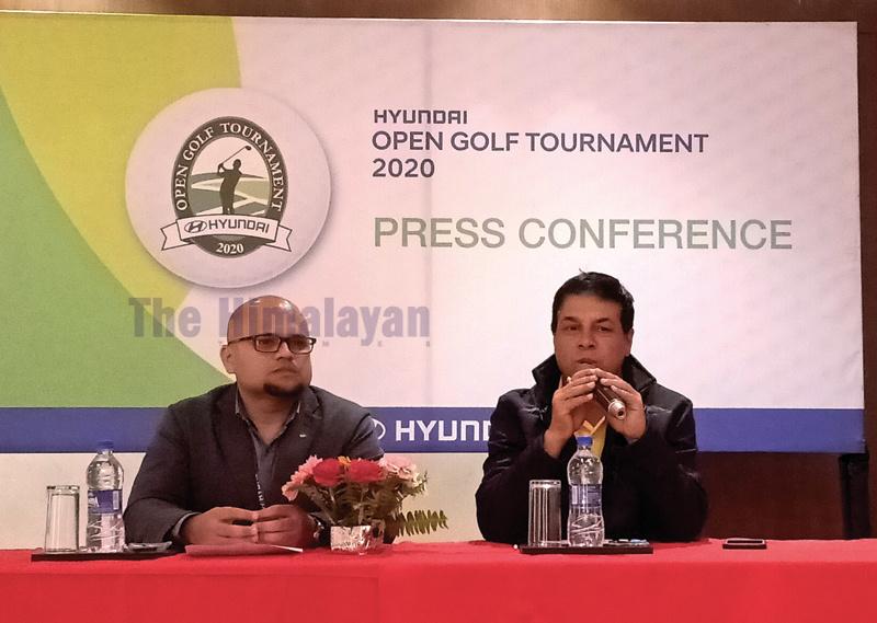 Head of Marketing Communications at Laxmi Intercontinental Awasish Ojha (left) and Senior Golf Director at Gokarna Forest Resort Deepak Acharya at a press conference in Kathmandu on Tuesday. Phoo: THT