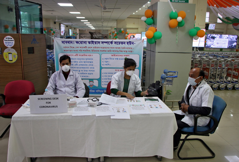 A health desk is set up to screen travellers for signs of the coronavirus at Maharaja Bir Bikram Airport in Agartala, India, January 31, 2020. Photo: Reuters/File