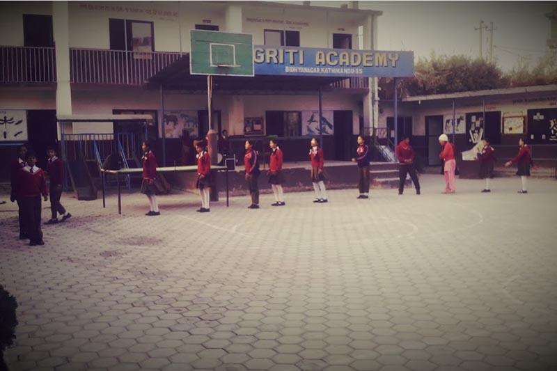 Students are seen on the premises of Jagriti Academy in Jadibuti, Kathmandu in April, 2017.