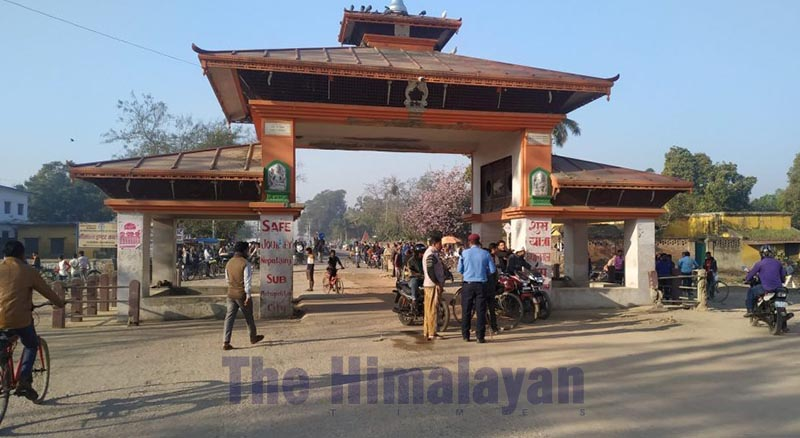 Jamunaha border wearing a deserted look after vehicles were banned at the border point, in Nepalgunj, on Wednesday, March 18, 2020. Photo: THT