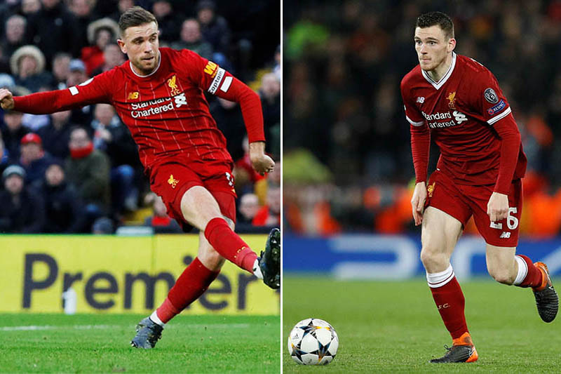 FILE: Liverpool's midfielder Jordan Henderson and defender Andy Robertson. Photos: Reuters