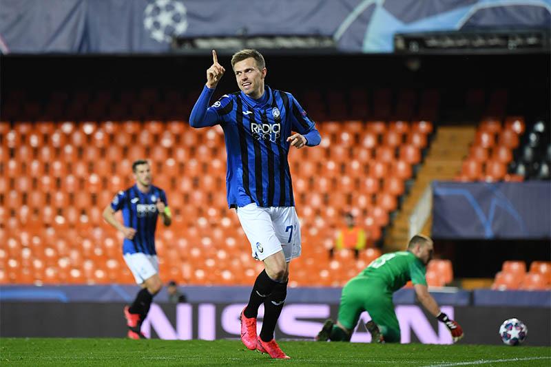 Atalanta's Josip Ilicic celebrates scoring their fourth goal. Photo: Reuters