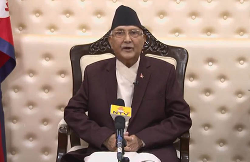 Prime Minister KP Sharma Oli addresses the nation in the wake of Coronavirus pandemic, in Kathmandu, on Friday, March 20, 2020. Photo: RSS